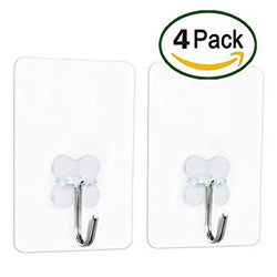 Grawor Adhesive Clear Wall hooks, Without Nails, Heat Resistant, Water/Oilproof, Transparent Bathroom Kitchen Key Wall hook, Ceiling Hanger.