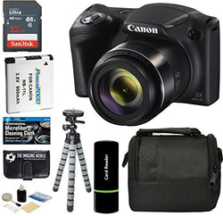 Canon PowerShot SX420 IS Digital Camera (Black) with 20MP, 42x Optical Zoom, 720p HD Video and Built-In Wi-Fi + 32GB Card + Reader + Spare Battery + Tripod + Digital Camera Accessory Bundle