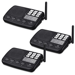Hosmart 1/2 Mile LONG RANGE 7-Channel Security Wireless Intercom System for Home or Office [3 Stations Black]
