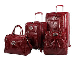 Kathy Van Zeeland Croco PVC Luggage Set 4 Piece Expandable Suitcase with Spinner Wheels