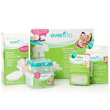 Evenflo Feeding Hospital Strength Advanced Breast Feeding Closed System Double Electric Pump with 32 Settings - Full Essentials Set