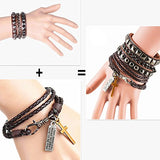 2 PCS Multilayer Bracelet Woven Braided Bangle Cross Religious Christian Alloy Lettering Wrist Cuff