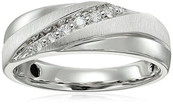 Men's 10K White Gold Diamond Gents Ring (1/10cttw, I-J Color, I3 Clarity), Size 10.5