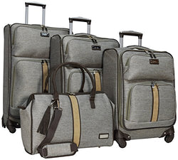 "Nicole Miller Cameron 4-Piece Luggage Set: 28"", 24"", 20"" Spinners and Satchel Bag"