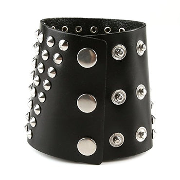 HZMAN Unisex Genuine Brown Black Leather Gauntlet Wristband Wide Metal Spike Studded Arm Armor Cuff