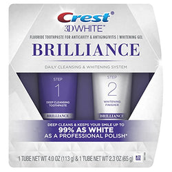 Crest 3D White Brilliance Toothpaste, Teeth Whitening and Deep Cleansing via Daily Two-Step System, 113g and 65g Tubes