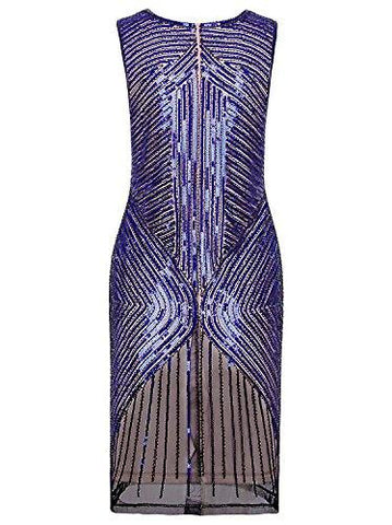 Vijiv Women's 1920s Sequined Inspired Beaded Gatsby Flapper Evening Dress Prom