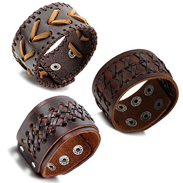 Aroncent Biker Punk Rock Leather Bracelets Wide Braided Adjustable with Snap Button 2 - 4 PCS