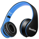 BestGot Over Ear Headphones with microphone In-line Volume for Kids Boys Adult, Included Cloth Bag , Foldable Headset with 3.5mm plug removable cord (Black/Blue)