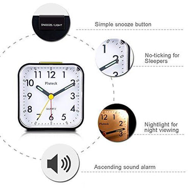 Pluteck Non Ticking Analog Alarm Clock with Nightlight and Snooze/Ascending Sound Alarm/Simple to Set Clocks, Battery Powered, Small