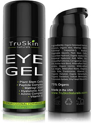 Best Eye Gel for Wrinkles, Fine Lines, Dark Circles, Puffiness & Bags - 100% Natural, 75% ORGANIC, With Hyaluronic Acid, Jojoba Oil, MSM, Peptides & More - Refreshing...