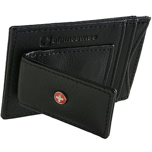 9ad4a2e37385 Alpine Swiss Mens Wallet Leather Money Clip Thin Slim Front Pocket Wallet