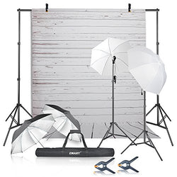 Emart Photography Umbrellas Continuous Lighting Kit, 400W 5500K, 10ft Backdrop Support System with Vinyl Plastic White Wood Floor Background Screen for Photo Video Studio Shooting