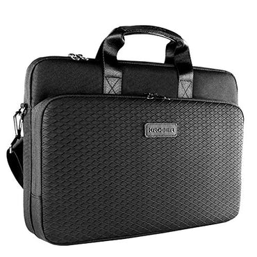 KROSER Laptop Briefcase 15.6 Inch Neoprene/Canvas Shoulder Bag Water Repellent Messenger Laptop Sleeve Bag For Business/College/Women/Men-Black