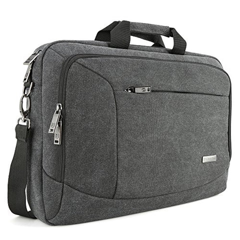 "15.6 inch Laptop Messenger Case, Evecase 15.6"" Canvas Shoulder Bag - Dark Grey w/ Handles, Shoulder Strap for laptops, Samsung ultrabooks, Apple Macbook, Microsoft Sony Acer Asus Chromebook tablet PC"