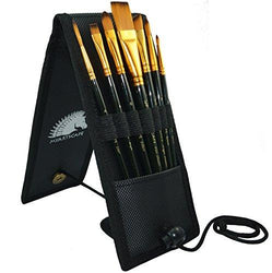 Paint Brush Set - 7 Artist Brushes for Acrylic, Oil, Watercolor, Gouache and Plein Air Painting - Short Handle - Professional Travel Holder - 1 Year Warranty - Art Supplies by MyArtscape™