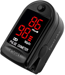 FaceLake FL400 Pulse Oximeter with Neck/wrist Cord, Carrying Case and Batteries, Black