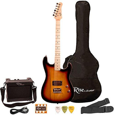 Rise by Sawtooth ST-RISE-ST-3/4-SB-KIT-1 Electric Guitar Pack, Sunburst