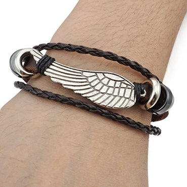 INBLUE Men's Alloy Genuine Leather Bracelet Bangle Angel Wing Surfer Wrap Tribal Adjustable Fit 7~9 inch