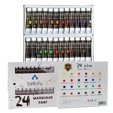 24-Color Watercolor Paint Set - 24 x 12 ml / 0.4 oz - Watercolor Paint Kit For Artists and Beginners - Painting Art - Artist Paint - Best Art Painting Equipment Available