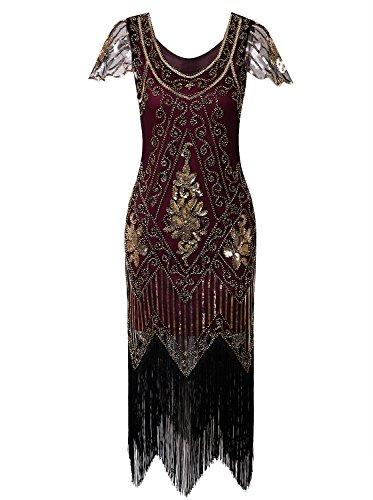 09870a9e47a1b Vijiv Women's 1920s Vintage Gatsby Art Deco Sequin Beaded V Neck Long  Cocktail Flapper Dress With Sleeves