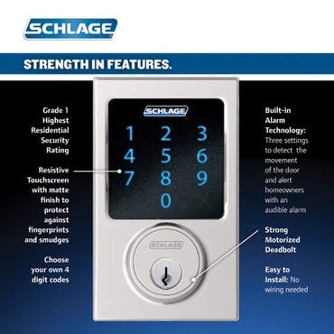 Schlage Connect Century Touchscreen Deadbolt with Built-In Alarm and Handleset Grip with Latitude Lever, Bright Chrome, FE469NX LAT 625 CEN, Works with Alexa