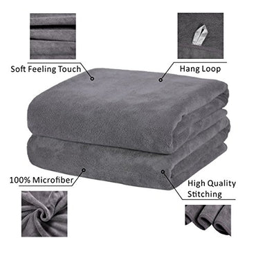 "Microfiber Bath Towels, JML Bath Towel 2 Pack(30"" x 60""), Oversized, Soft, Super Absortbent and Fast Drying, Antibacterial, No Fading Multipurpose Use for Sports, Travel, Fitness, Yoga - Grey"