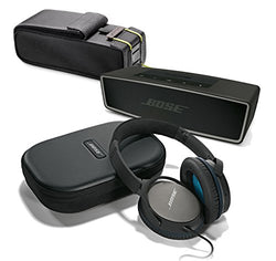 Bose QuietComfort 25 Black Over-Ear Noise Cancelling Headphones for Apple Devices, with Carbon SoundLink Mini II & Protective Bag - Travel Bundle