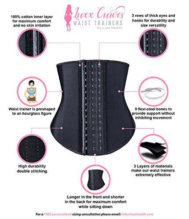 Luxx Health Luxx Curves Waist Trainer by Corset For Weight Loss For Women and Men | Curvalicious Waist Trimmer Shaper