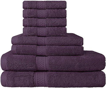 Premium 8 Piece Towel Set (Plum); 2 Bath Towels, 2 Hand Towels and 4 Washcloths - Cotton - Hotel Quality, Super Soft and Highly Absorbent by Utopia Towels