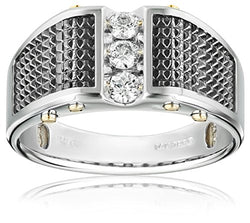 Men's 14k White Gold with Black Detail and Polished Finish Diamond Ring (1/3 cttw, H-I Color, I1-I2 Clarity)
