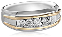 Men's 10k Two-Tone Gold Polished Finish Diamond Ring (1/2 cttw, H-I Color, I1-I2 Clarity)