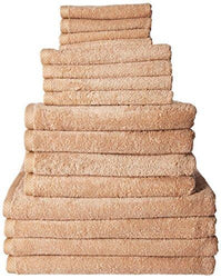 SALBAKOS Giallo 16 Piece Turkish Hotel Collection Bath Towel Set, Beige