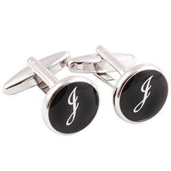 HJ Men's 2PCS Rhodium Plated Cufflinks Silver Initial Letter Shirt Wedding Business 1 Pair Set 4 Color A-Z