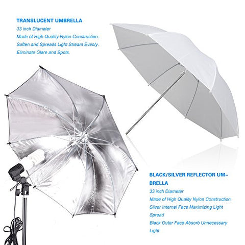 Emart Photography Umbrellas Continuous Lighting Kit, 400W 5500K