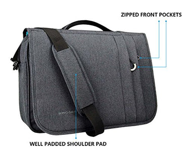 KROSER Briefcase Laptop Messenger Bag 15.6 inch Water-Repellent Light Weight Flapover Computer Case Business Shoulder Briefcase Laptop Bag with RFID Pockets for Business/College/Men/Women