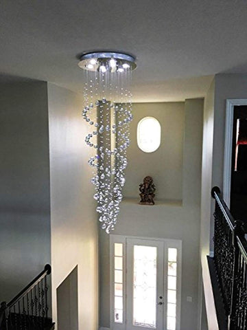 Saint Mossi Modern K9 Crystal Raindrop Chandelier, 8 GU10 Bulbs Required H86 W24