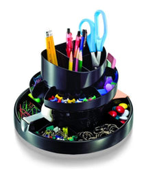 Officemate Deluxe Rotary Organizer, 16 Compartments, Recycled, Black (26255)
