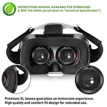 VR Headset for iPhone & Android Phones Virtual Reality Goggles | 2018 New Comfortable & Adjustable Glasses with Full Eye Protection, Compatible with Smartphones | Play Your Best 3D & 360 Mobile Games