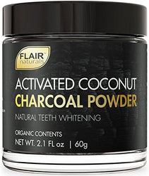 FLAIR Naturals Activated Coconut Charcoal Powder - Natural & Organic Teeth Whitening (60 Grams)