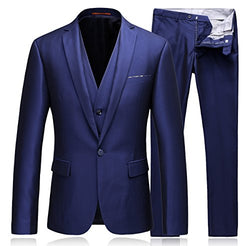 Men's 3-Piece Suit Classic Fit Center Vents One Button Formal Jacket Vest & Trousers
