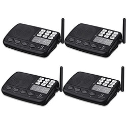 Hosmart 1/2 Mile LONG RANGE 7-Channel Security Wireless Intercom System for Home or Office [4 Stations Black]