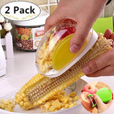 1 Corn Stripper + 1 Vegetable Fruit Skin Peelers, Magnolora No Mess Cob Cutter/Peeler/Shaver/Remover/Shucker Kitchen Cooking Tools with Hand Protector
