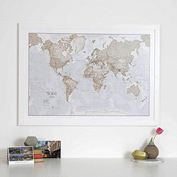 World Map Art Neutral - Silk Art Print