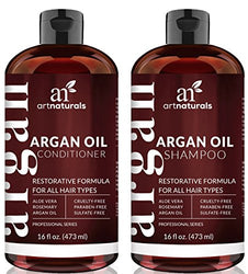 Art Naturals Organic Moroccan Argan Oil Shampoo and Conditioner Set (2 x 16 Oz) - Sulfate Free - Volumizing & Moisturizing, Gentle on Curly & Color Treated Hair,For Men &...