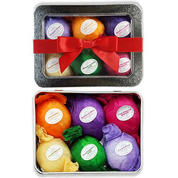 Bath Bomb Gift Set Kit - 6 Vegan All Natural Essential Oil Lush Fizzies. Organic Shea and Cocoa Soothe Dry Skin.