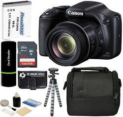 Canon PowerShot SX530 HS 16MP Super 50x Optical Zoom IS 1080p HD Video CMOS Digital Camera + Case + Spare Battery + Tripod + 32GB Deluxe Accessories Bundle