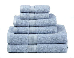 Premium Bamboo Cotton 6 Piece Towel Set (2 Bath Towels, 2 Hand Towels and 2 Washcloths) - Natural, Ultra Absorbent and Eco-Friendly (Aqua)