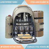 4 Person Picnic Backpack With SOLID Stainless Steel Utensils, Oversized Water Resistant Fleece Blanket , Cooler Compartment, Detachable Wine Bottle Holder in a Modern Designed Backpack