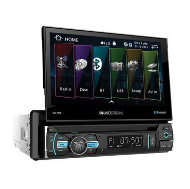 "Soundstream VR-75B Single DIN Bluetooth In-Dash DVD/CD/AM/FM Car Stereo Receiver With 7"" Foldout Touchscreen"